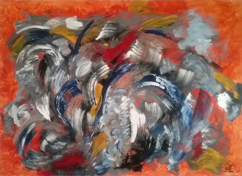 abstract painting on 100% cotton stretched canvas
