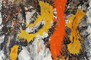 orange and yellow acrylic abstract painting