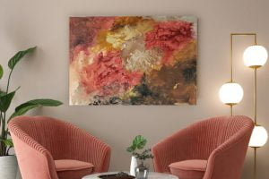 acrylic abstract painting in a living room