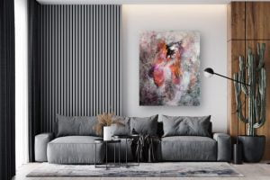 contemporary abstract painting in a living room by suhail mitoubsi