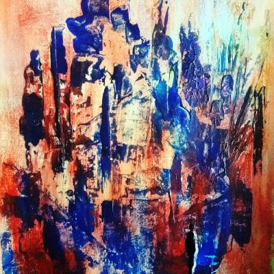 blue abstract painting by suhail mitoubsi